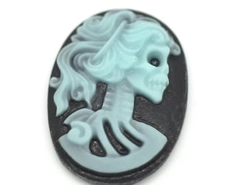 10 Oval Halloween Cameos - Sky Blue - Skull Pattern - Embellishment - 25x18mm - Ships IMMEDIATELY from California - C67