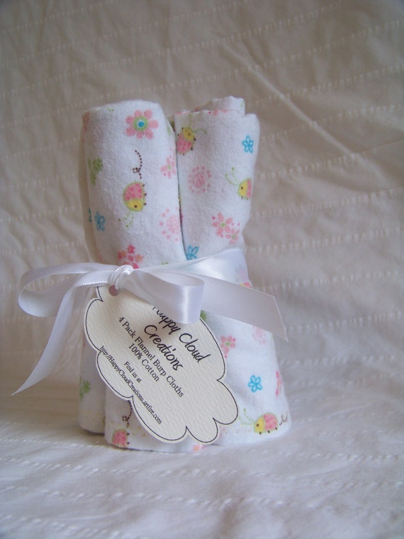 Baby Girl Flannel Burp Cloths - 100% Cotton -  Pink Ladybugs