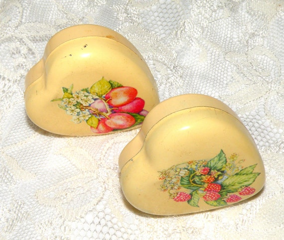 2 Vintage Soap Tin Heart Shaped Collector Tin Heart Scented Soap