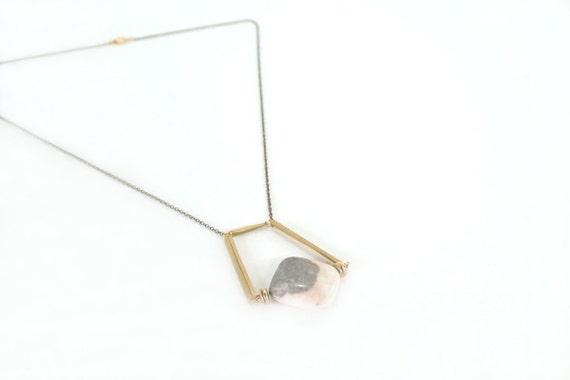 Geometric Necklace : Autumn Jewelry - Flamingo Jasper in Geometry Necklace