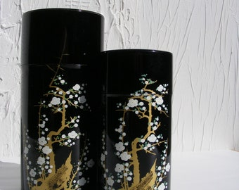 Set of 2 Enamel Asian Motif Storage Tins