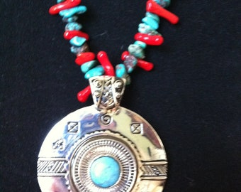 Beautiful Southwest style genuiine turquoise and coral pendant