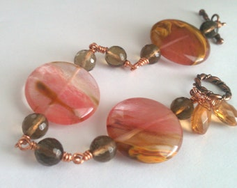 Glass Jungle, Tiger-skin and Smokey Quartz Copper Bracelet