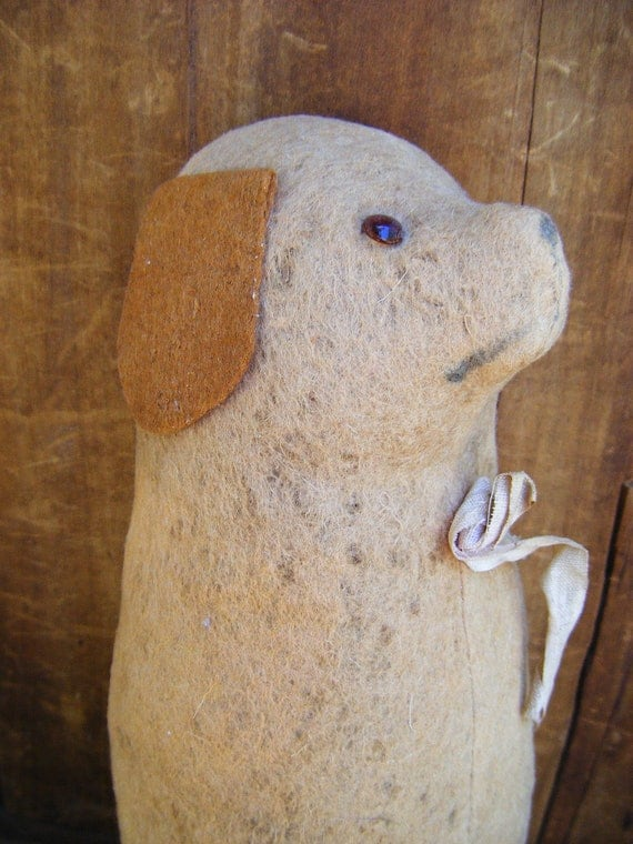 Early 1900's Straw Stuffed Primitive Dog with Squeeker, Hand Made Folk Art Toy