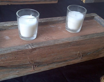 Barnwood Candle Holder Display with barb wire