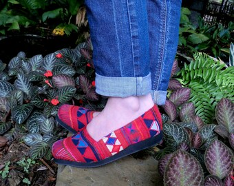 Vegan Womens Loafers In Akha Tribal Red Embroidery - Chloe