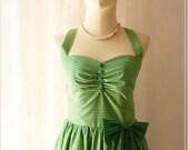 Green Dress stripe Sundress Summer Dress Party Dress Green Shade Stripe Christmas Dress Once Upon A Time -Size XS,S,M,L,Custom-