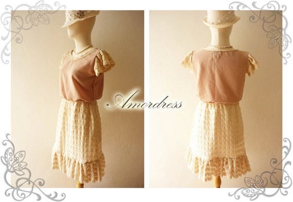 FREE SHIPPING -Amor Vintage Inspired Duchess Nude brown Tulle Lace Whimsical Lace Dress -Size S-M-