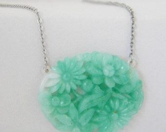 Mint Green Vintage Glass Flower Necklace