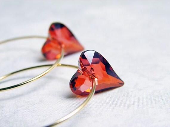 Valentine's Day Gift. Red Heart Hoop Earrings. July Birthday. Swarovski Heart Charm on Gold Plated Hoop. Heart Earrings. Gift for Her
