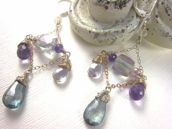 amethyst earrings amethyst gemstone earrings chandelier earrings bridal statement earrings february birthstone jewelry wedding gift idea