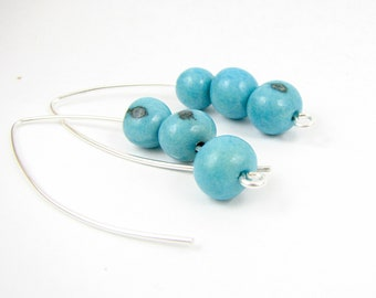 Modern Sterling Silver earrings with Turquoise Acai