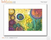 DoodlePainting ORIGINAL 9x12 Abstract Circles Landscape Watercolor in Mat: The Gaze