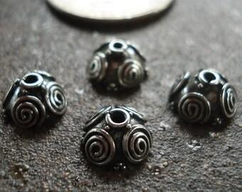 Oxidized Bali Sterling Silver Bead Cap 4 x 8.6 mm, pkg of 4