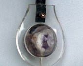 Long Pendant Necklace Large Amethyste Plexiglass Blackened Steel 2012 Abstract Jewelry signed Ooak Hand Made