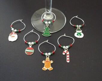 6 pc Christmas Wine Charm Set