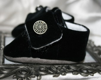 Black Velvet Holiday Baby Boy Loafer Shoes/Booties with Pewter Buttons