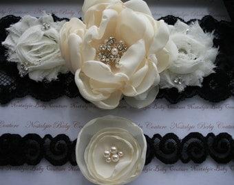 Bridal Garter Set Black Lace and Ivory Wedding Set with Handmade Swarovski Pearl Brooch
