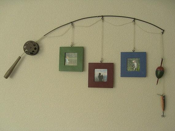 Fishing Photo Frame - Metal Brown - 3 Frames