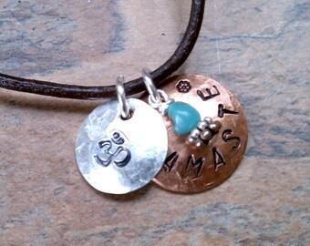 Namaste Om Yoga Leather Cord Necklace