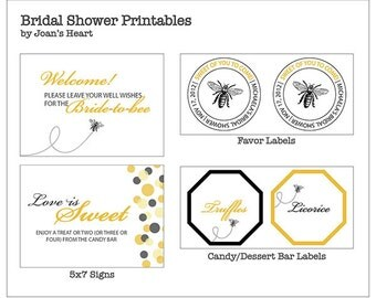 Bride to Bee: Bee-themed Bridal Shower Printable Package - Invitation, Sign, Favor labels, Tent card, Thank you card