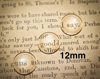 12 mm Glass Round Domed for pendants, magnets or mosaics 6 pieces