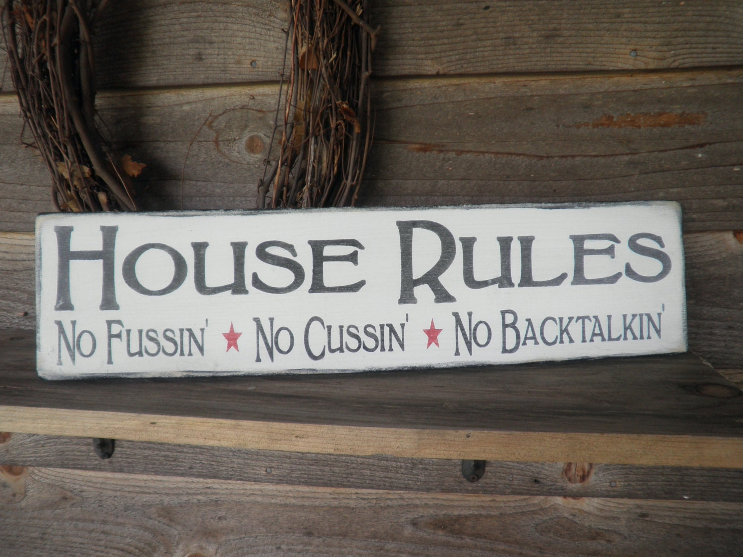 Country home decor wood signs family rules home decor for Sign decoration
