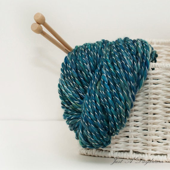80 yards Bulky weight textured hand spun yarn - Ocean in blue green and white merino silk