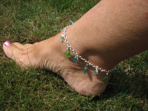 Sea Glass Anklet in Silver Blue Green and White Beach Jewelry Ankle Bracelet of Seaglass Charms Black Friday / Cyber Monday