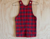 1960s 18-24MO.s unisex baby red plaid jumper