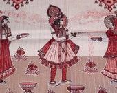 Krishna Fabric India Fabric Panel Devi God Goddess Women In Sari saree Devotional Scene Border Print Vintage 70s Sewing notion FREE SHIP