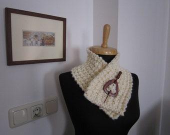 hand knitted mohair sequinned ecru cream ivory scarf neck warmer neck collar women accessories fashion