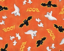 Halloween, Ghosts, Bats, Spooky Eve by Quilting Treasures, Bat Fabric, Halloween Fabric, Ghost Fabric, Orange Fabric, Bats, Ghosts, 01509