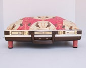 Pet Bed from Vintage Briefcase Top -Brown with Pink, Brown and Cream Art Deco Fabric