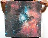 Galaxy Print Nebula Star Silk Scarf Square Women Gift Orange Constellation