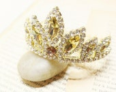 Rhinestone Princess Crown Gold Tiara Comb for Bridal Wedding Pagents // Gold and Amber Stone