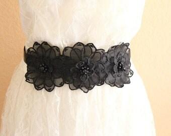 Black Beaded Flower Sash , Black Flower Headband , Black Bridal Head Piece