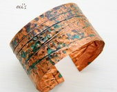 Handcrafted Copper Folded Hammered Eco Friendly Natural Oxidized Blue Green Patina Medium Wide Artisan Statement Bracelet Cuff Gift for Her