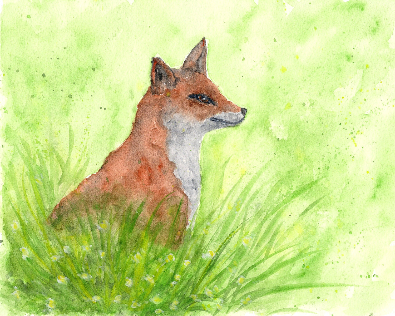 Fox Watercolor Painting Fox Art Animal Painting Woodland