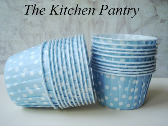 Blue Polka Dot Baking Cups - Nut or Candy Cups (12 )