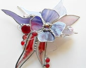 Purple flowers dream flight. 3D Flower. Stained Glass Suncatcher