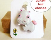 The cooperative hippo and bird necklace, polymer clay totem jewerly