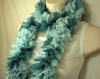 Teal and White Ruffled Fashion Scarf