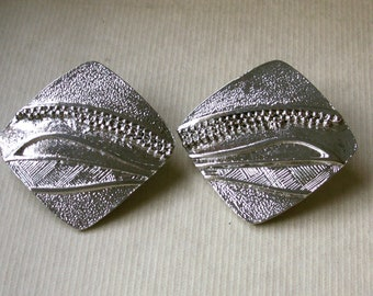 Big Bold Multi Textured Silver Square Clip On Earrings