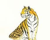 "Metal Art Print-""Shere Kahn""-Watercolor Tiger-9.5x12-Wall Hanging"