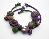 Chunky statement necklace, crochet textile jewelry in purple and green, butterfly necklace, OOAK fiber art