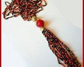 """Vintage Tassel Necklace 3 Strands Red Black & Gold Glass Seed Beads 42"""" VG"""
