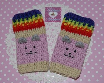 Made TO ORDER- Crochet Gloves-Nyan Cat Fingerless Gloves -Fingerless Gloves- Nyan Cat-Mittens- Women Gloves- Pink-women Accessories- Crochet