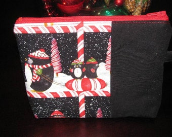 Wristlet, Make-up Bag, Purse, Holiday, Christmas, Penguins, Cosmetic Bag, Purse Organizer, Candy Canes