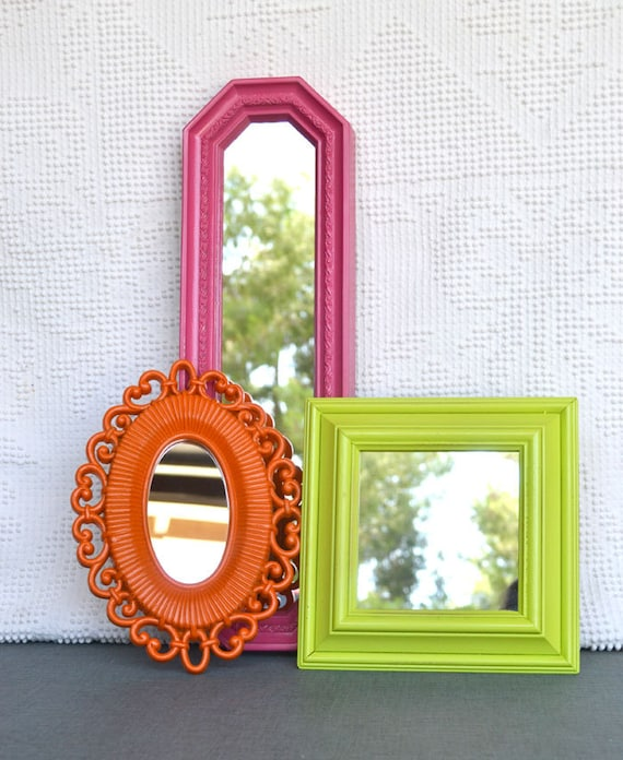 Lime Green Pink Orange Upcycled Bright Mirror collection.... Painted Modern Miror Set of 3 Playroom Teenage Girls Bedroom